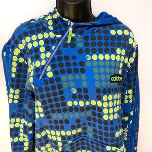 Retro Adidas Blue/Yellow Geometric Hoodie Sweater